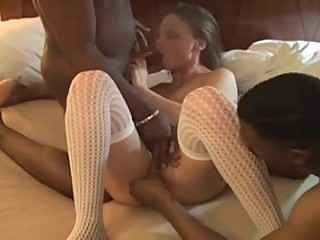 Amateur wife fucks two black studs